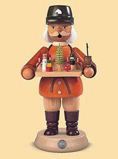 85 Muller Collectible German Male Toy Seller Smoking Man Wooden Christmas Smoker -- Want to know more, click on the image.