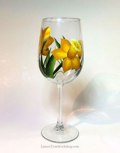 Hand Painted Daffodil Wine Glass 18.5 oz by LemonTreeWorkshop