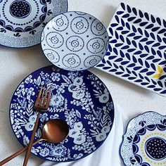 Love the blue pitcher, heart bowl and architectural plate. Collector's Editions Dinnerware - Blue Floral #westelm