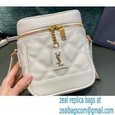 Saint Laurent 80\'s Vanity Bag in Grained Embossed Leather 649779 White Vanity Bag, Saint Laurent, Latest Bags, White P, Replica Handbags, Luxury Bags, Other Accessories, Mini Bag, Balenciaga