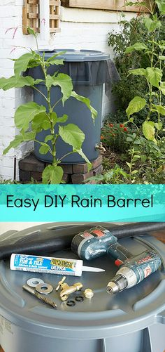 How To Make A Rain Barrel - I wound up using a kit, but I don't know if it's collecting much rain, so I might cut a hole in the top like this one suggests.  I already have the landscaping fabric.