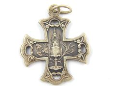 Vintage French Bois-Seigneur-Isaac Catholic Medal - Belgium Religious Charm - Silver Cross Medallion by LuxMeaChristus