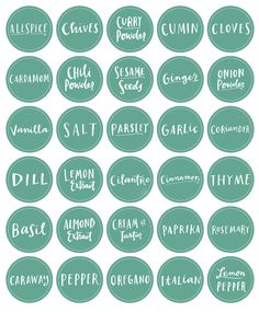 Free spice bottle printables - Many different fonts, styles, and colours to choose from (for the baby food jar w/magnets craft? )