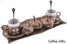Coffee Gifts - BOSPHORUS 16 Pieces Turkish Greek Arabic Coffee Making Serving Gift Set with Copper Pot Coffee Maker, Cups Saucers, Tray, Sugar Bowl & 6.6 Oz Coffee