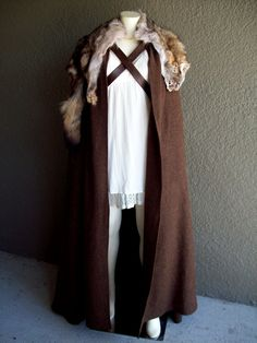 Cloak of Winterfell - renaissance larp viking medieval costume fur wool game of thrones stark