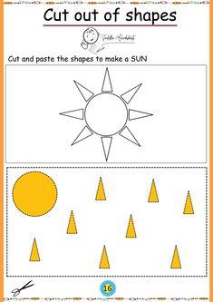 free preschool cutting worksheets Toddler Worksheets, Preschool Worksheets, Free Preschool, Cut And Paste, Shapes, How To Make, Preschool Printables