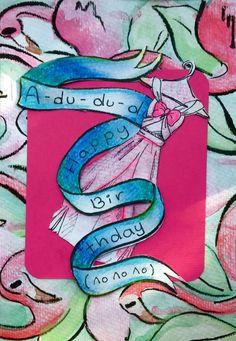 Happy birthday card. cinderella inspired. flamingoes. oil pastel. water color. pen.