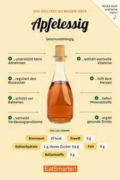 Apfelessig Apfelessig: Hier erfahren Sie alles, was Sie Apple Cider Vinegar Apple Cider Vinegar: Find out everything you need to know about nutrition, preparation, and health benefits. Nutrition Plans, Diet And Nutrition, Nutrition Guide, Smart Nutrition, Proper Nutrition, Nutrition Education, Food Facts, Health Facts, Apple Cider Vinegar
