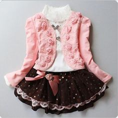 34.00$  Buy now - http://aliosg.shopchina.info/go.php?t=32730287915 - New Autumn and winter Girls coat + Rose Lace shirt + bow princess dress children wear three piece suit 34.00$ #shopstyle