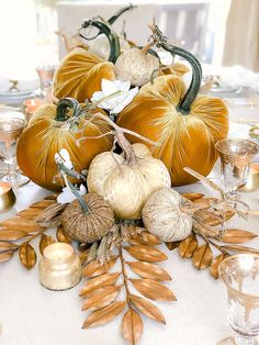 Thanksgiving Table Velvet Pumpkins Green Set Halloween Decor Green Lovers Vintage Centerpiece Autumn Ornament Shabby Chic Fall Harvest Gift