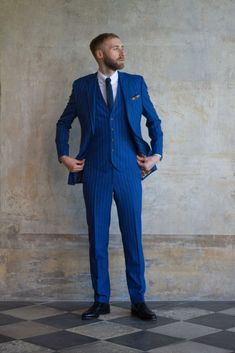 Royal blue, pinstripe, suit from King & Allen Sister Carrie, Blue Pinstripe Suit, Bespoke Suit, 3 Piece Suits, Suit Fashion, Mens Suits, Royal Blue, Suit Styles, Business Suits