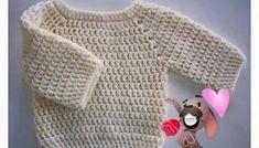 Chaleco en una sola pieza. - aprende a tejer fácilmente Crochet Toddler, Crochet For Kids, Knitting For Kids, Baby Knitting, Crochet Cardigan, Knit Crochet, Baby Sweater Patterns, Crochet Patron, Easy Crochet Patterns