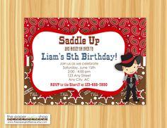 Cowboy Birthday Party Invitation, Western Birthday Party Invitation by ThePaperGiraffeShop on Etsy