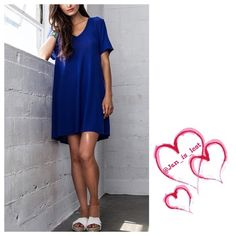 Deep-V Tee Dress 💥 Last Small Deep-V Tee Dress  Fabric: COTTON BLEND Color: Cobalt Sizing is as follows for a Woman's size Small (2-4) Medium (6-8) Large (10-12).  Any questions please ask. 🚫No Trades🚫 ✅ Offers Considered*✅ *Please use the blue 'offer' button to submit an offer.👍🏻 Dresses