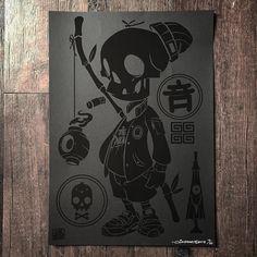 """Follow the Sound"" | black on black 11"" x 16"" Print | Artist: Clogtwo"