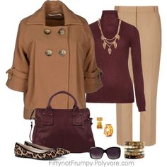"""""""Camel and Burgundy"""" by fiftynotfrumpy on Polyvore"""