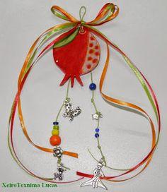 Χειροτεχνημα - Handmade: Κεραμικά χειροποίητα ρόδια - γούρια 2014 Lucky Charm, Christmas Crafts, Christmas Ideas, Ceramics, Drop Earrings, Jewelry, Kids, Ceramica, Young Children