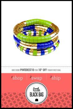 RJ Graziano Coil Bracelet from LittleBlackBag.com :: Green :: Blue :: Gold :: Bead :: Coil :: Bracelet