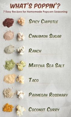 What's Poppin'? 7 Easy Recipes for Homemade Popcorn Seasoning --- Skip the microwave popcorn that's covered in unhealthy fake ingredients. This method of making popcorn on the stove top with coconut oil is SO easy, and it tastes delicious even without ad Homemade Popcorn Seasoning, Homemade Seasonings, Seasoning Recipe, Homemade Spices, Homemade Popcorn In Microwave, Homemade Flavored Popcorn, Flavoured Popcorn, Chip Seasoning, Popcorn Snacks