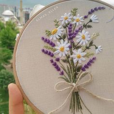Embroidery hoop artwork present for her / Hand embroidered lavender house ornament / Framed botanical wall artwork / Floral hand stitched room decor -. flowers Embroidery hoop artwork present for her / Hand embroidered lavender house ornament / F. Embroidery Stitches Tutorial, Embroidery Flowers Pattern, Simple Embroidery, Embroidery Patterns Free, Embroidery Hoop Art, Crewel Embroidery, Hand Embroidery Designs, Vintage Embroidery, Ribbon Embroidery