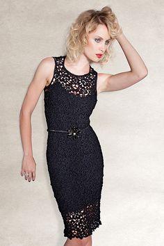 Crochet little black dress by Giovana Dias