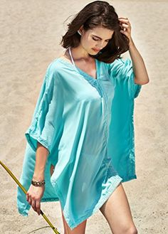 a763700567a Keep Looking Busy - MG Collection Turquoise Crochet Trimmed Cotton Beach  Top / Swimsuit Cover Up
