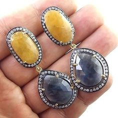 FANTASTIC 925 STERLING SILVER NATURAL BLUE AND YELLOW SAPPHIRE GEMS EARRING