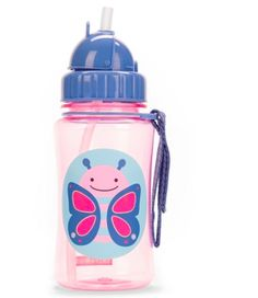 Zoo Straw Bottle Butterfly – all Skip Hop bottles come with a handy Velcro grab-strap which attaches to anything. Available at www.babycompany.co.uk