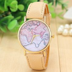World map casual Pu leather beige band woman watch