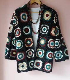 Crochet Cardigan Pattern, Granny Square Crochet Pattern, Crochet Jacket, Crochet Granny, Crochet Shawl, Knit Crochet, Crochet Patterns, Hippie Crochet, Poncho