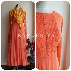 Peach Dori Yoke Long Tunic - LabelKanupriya