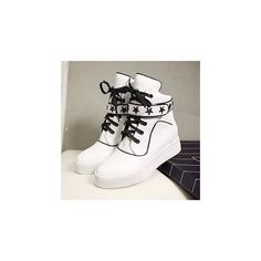 Star Patterned Strap High-Top Sneakers ($94) ❤ liked on Polyvore featuring shoes, sneakers, footware, hi tops, high top platform sneakers, black hi top sneakers, high top sneakers and platform shoes