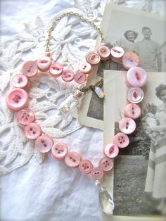 Shabby Chic Hanging Button Heart, Wall Decor, PINK Paris Apartment, Antique Mother Of Pearl Buttons