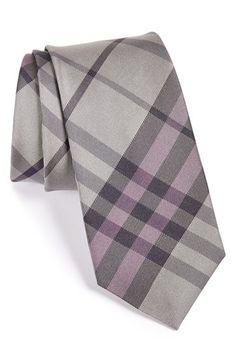 Men's Burberry London 'Earl' Woven Silk Tie - Grey