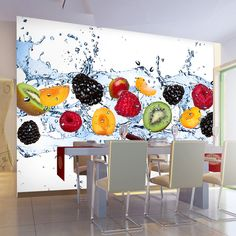 Envío gratis restaurante restaurante de comida rápida fruta de la cocina gran mural papel tapiz de fondo de dinámico fruta de tamaño personalizado