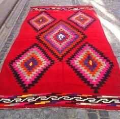 Moderne böhmischen Kilim Teppich Vintage Kilim von Sheepsroad, $785.00