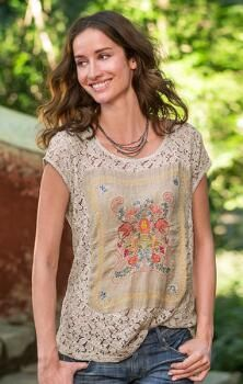 ODE TO VINTAGE LACE TOP -- Our breathtaking lace tee shirt features front panels that mimic vintage handkerchiefs (a different pattern for each color). Sizes XS S to M to L to XL Approx. Vintage Tops, Vintage Lace, Unique Vintage, Vintage Style, Indo Western Dress For Girls, Hippy Chic, Diy Tops, Vintage Handkerchiefs, Lace Tee