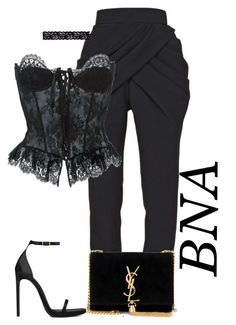 """BNA"" by deborahsauveur ❤ liked on Polyvore featuring Balmain, Moschino, Yves Saint Laurent and Akira"