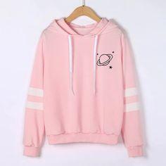 Chamsgend Hoodies Women Sweatshirt Casual Planet Print Striped Long Sleeve Hoody Shirt Blouse Jumper Tops For Female 80109 - Pullover Hoodie Sweatshirts, Printed Sweatshirts, Sweatshirt Outfit, T Shirt, Sweat Style, Mode Kawaii, Shirt Bluse, Running Shirts, Kawaii Clothes