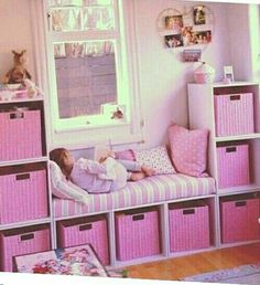 Toddlers bedroom | Less permanent Shelving, storage and seating area. Pink. Girly. Feminine. Colorful