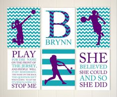 Teen girl inspirational art, basketball, softball, volleyball, softball room decor, volleyball art, set of 6, choose your colors and sports by PicabooArtStudio on Etsy