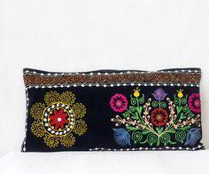 Uzbek suzani pillow 13x26 SINGLE bolster pillow by MulberryWhisper