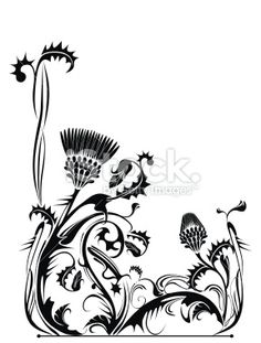 Thistle plant in vintage style Royalty Free Stock Vector Art Illustration