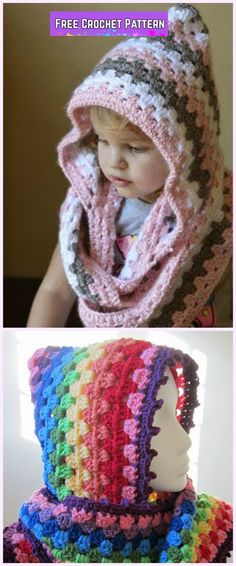 Crochet Granny Harlequin Hooded Cowl Free Pattern