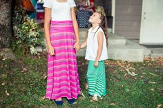 LulaRoe girls' maxi skirts. Pink stripe and green.