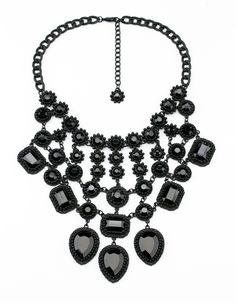 Black Chandelier Drop Cluster Choker Bib Necklace