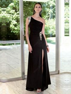 Sheath/Column One Shoulder Chiffon Ankle-length Rhinestone Prom Dresses -£105.39