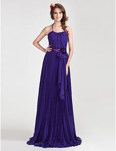 Lilac A-line Halter Floor-length Chiffon Bridesmaid Dress