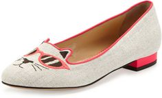 ab166078a Charlotte Olympia - Gray Sunkissed Kitty Canvas Flat Green - Lyst