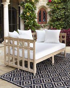 -4CC3   Six-Piece Cushion Set White Faux-Bamboo Outdoor Sofa
